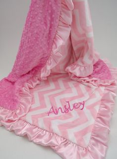 Pink Chevron Minky Dot Baby Blanket larger sizes by MinkyBabyGifts