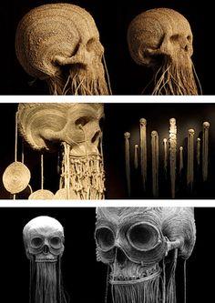 Wow, Jim's skull art is completely breathtaking. Via Who Killed Bambi? More: Pill head / Numb skull Latch hook skull Memento Mori, Expo, Skull And Bones, Skull Art, Oeuvre D'art, Macabre, Dark Art, Fiber Art, Sculpture Art