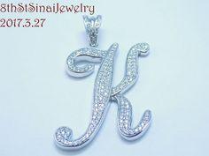 "Estate Large Sterling Silver 925 Initial ""K"" Pave Cubic Zirconia Pendant 2""L #GM #Pendant"