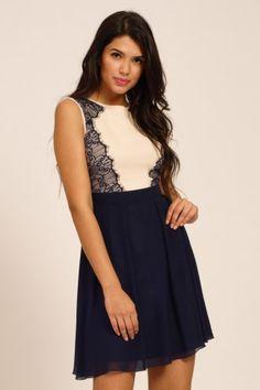 Little Mistress Cream & Navy Lace Panel Contrast Fit & Flare Dress