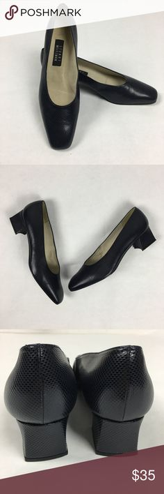 "Stuart Weitzman Navy Pumps Heels Size 11 Excellent condition. Stuart Weitzman Dark Navy Heels Size 11.  Textured print. Rounded square toe and a modern 2"" block flare heel. Stuart Weitzman Shoes Heels"