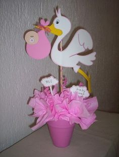 Baby Decorations with foam Baby Shower Deco, Baby Shower Crafts, Baby Shower Diapers, Baby Shower Parties, Baby Shower Themes, Baby Boy Shower, Stork Baby Showers, Mesas Para Baby Shower, Baby Shawer