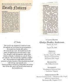 Obits for Charles and Gladys Anderson.