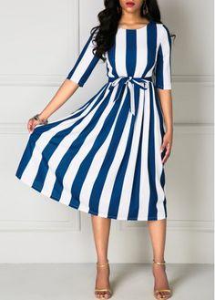 Navy Blue and White Striped Half Sleeve Tie Waist Midi Dress