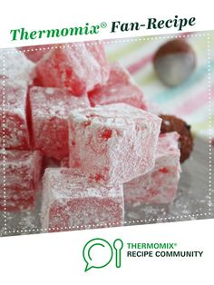 Recipe Lychee and Almond Turkish Delight by Thermomix in Australia, learn to make this recipe easily in your kitchen machine and discover other Thermomix recipes in Desserts & sweets. Nougat Recipe, Sweets Recipes, Desserts, Pink Food Coloring, Turkish Delight, Recipe Community, Marshmallow, Icing, Thermomix