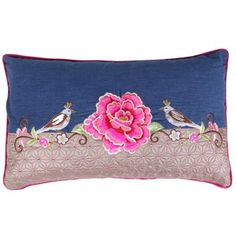 Pip Studio Birds Single Flower Cushion - Denim - 30x50cm
