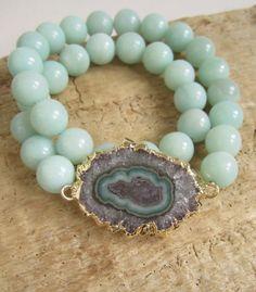 Stretch Amethyst Stalactite Bracelet Agate Geode by julianneblumlo