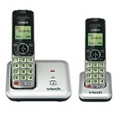 VTech CS6419-2 DECT 6.0 Expandable Cordless Phone System with Extra Handset - 1-Line - Silver, Black