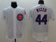 Majestic Chicago Cubs #44 Anthony Rizzo White Stripe Flexbase Collection Jersey