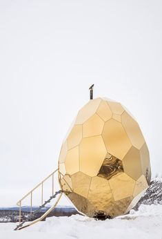 """Solar Egg,"" a sauna in Kiruna, Sweden has a heart shaped wood stove inside - designed by Mats Bigert and Lars Bergström, of Bigert & Bergström - x 13 ft. View Photos, Interior Architecture, Solar, Exterior, Gallery, Places, Instagram, Microhouse, Sauna Design"