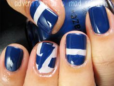 Game day nails- Go Lightning! Lightning Nails, Lightning Game, Tampa Bay Lightning, Lightning Strikes, Mani Pedi, Manicure, Tough As Nails, Some Times, Beauty Hacks