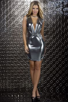 9a4c6ce47 Glisten - Sleeveless metallic dress with deep plunging neckline and waist  gather detail. Martha Eugenia · Vestidos de latex