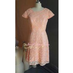 Short Pink Lace Mint Bridesmaid Dress/Custom Ivory Wedding Party Dress/Peach Blush Pink Mint Green Bridesmaid Dress/Prom Dress/Formal Dress