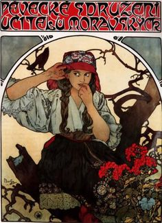 1911 Young Lady Flowers Bird Moravian Teachers Choir By Alphonse Mucha Was a Czech Art Nouveau Painter and Decorative Artist X Image Size Vintage Poster Reproduction Comics Vintage, Posters Vintage, Retro Poster, Vintage Art, Mucha Art Nouveau, Alphonse Mucha Art, Art Nouveau Poster, Mucha Artist, Culture Art
