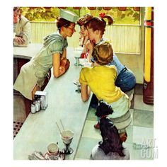 """Soda Jerk"", August 22,1953 Stretched Canvas Print by Norman Rockwell at Art.com"