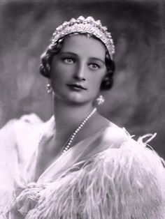 Queen Astrid of Belgium wearing the Nine Province Tiara with pearls.