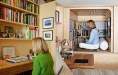 Manhattan Studio Apartment Has Crawl-In Library (6 pictures)