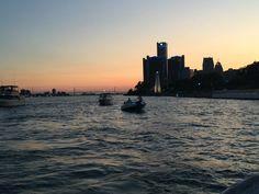 Detroit River with the Renaissance Center and  Ambassador Bridge in the distance