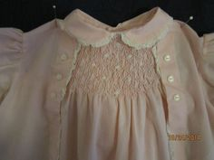 Antique Vintage PINK BABY DRESS Elaborate Design by CHERUBS Philippines Poly/Cot