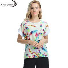 Women Blouses Shirts Chiffon Feminina Top Tee Short Shirt Woman Clothing Blusa Camisa Summer Tops Shirt Floral Fashion #MODA JIHAN #blouses-shirts #women_clothing #stylish_blouses-shirts #style #fashion