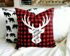 Holiday Sale - Merry Christmas Ya'll Pillow Cover - Red and Black Buffalo Check - Red and Black Christmas - fits a x pillow form Christmas Sewing, Plaid Christmas, Merry Christmas, Silhouette Cameo Christmas, Bright Pillows, Throw Pillows, Red And Black Flannel, Christmas Pillow Covers, Pillow Forms