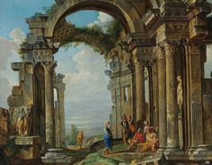 hadrian6: Architectural Capriccio with the ruins of a Corinthian Temple with Figures. 18th.century. Circle of Giovanni Paolo Panini. Italian 1691-1765. oil/canvas. http://hadrian6.tumblr.com