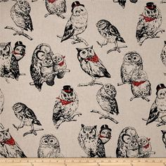 Cosmo Country House Owls Printed Canvas Tan from @fabricdotcom  From Cosmo, this medium weight (6.4 oz./square yard) cotton/linen canvas features sassy hipster owls. It's perfect for tote bags, toss pillows, window treatments, apparel and more. Colors include cream, black, shades of grey and red.