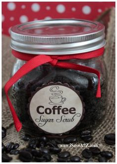 Homemade Coffee Sugar Scrub Recipe with a free printable label included