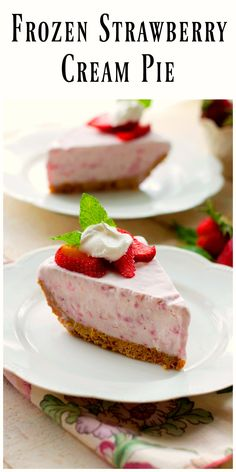 Frozen Strawberry Cream Pie is delicious and easy to put together. This little treasure is made with cream cheese,strawberries and cream!