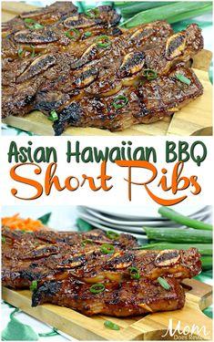 Asian Hawaiian BBQ Short Ribs - List of the best food recipes Rib Recipes, Grilling Recipes, Asian Recipes, Cooking Recipes, Healthy Recipes, Recipies, Ribs On Grill, Pork Ribs, Pulled Pork