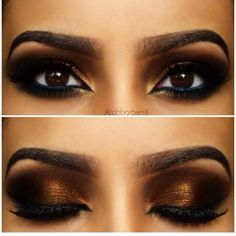 Brown gold eyes makeup