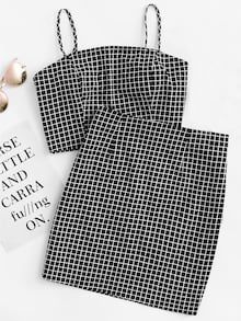 Shop Grid Print Zip Back Cami Top And Skirt Co-Ord online. SheIn offers Grid Print Zip Back Cami Top And Skirt Co-Ord & more to fit your fashionable needs. Teen Fashion Outfits, Hot Outfits, Cute Casual Outfits, Outfits For Teens, Pretty Outfits, Fashion Clothes, Summer Outfits, Girl Outfits, Fashion Boots