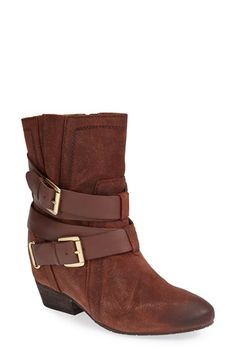 Free shipping and returns on Naya 'Fisher' Boot (Women) at Nordstrom.com. Oiled suede and wrapped buckle straps amplify the rugged appeal of a stacked-heel boot fashioned with a hidden wedge for extra height.