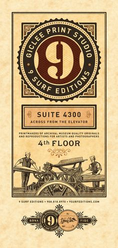9 Surf Editions, print studio branding and marketing by 9 Surf Studios Tom White, via Behance