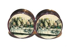 """Mad Tea Party Plugs - 1 Pair (2 plugs) - Sizes 0g, 00g, 7/16"""", 1/2"""", 9/16"""", 5/8"""", 3/4"""", 7/8"""", 1"""" - Made to Order"""