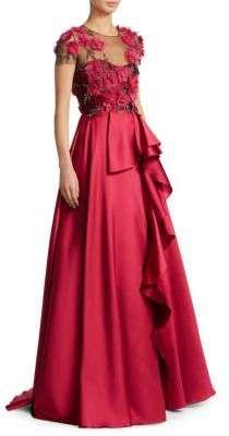 Marchesa Notte Floral Floor-Length Gown