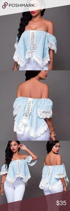 🌟Host Pick💫Cotton Lace Off Shoulder Blouse New Cotton Lace Off Shoulder Blouse Available M and L Tops