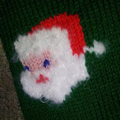 Vintage Knitted Christmas Stocking Santa Face