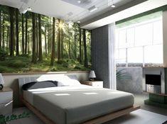 Wald-Fototapete-Wandgestaltung-Schlafzimmer   OBS  Fototapete beginnt über der Möbel-/Betthauptkante !!!