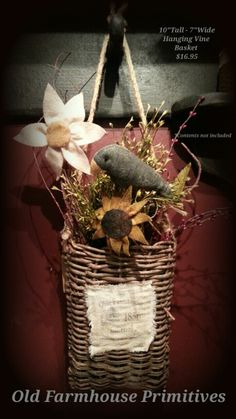 Primitive Hanging Vine Basket