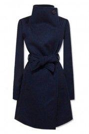 New Style Lapel Dark Blue Coat