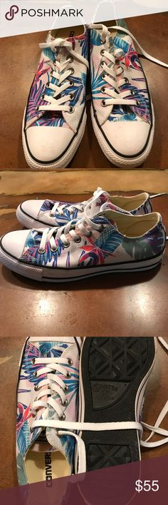Tropical Converse Converse All⭐️Star   Size 8 women's.  In excellent condition.  Blues purples pinks decorate these cuties.  Firm Converse Shoes Sneakers