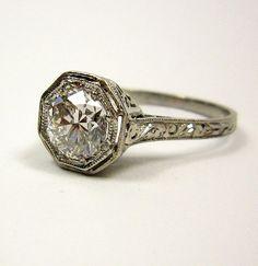 1.02ct 1900 Edwardian Old European cut Diamond EGL USA Engagement Anniversary Ring in Platinum