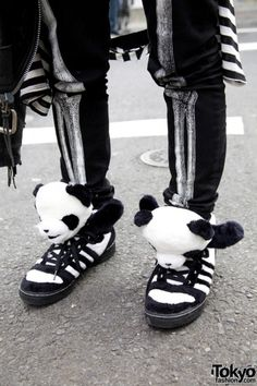 e79df7d75349c2 kawaii cute panda shoes skeleton jeans black white japan japanese fashion  harajuku Rose Gold Adidas Shoes