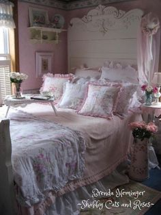 shabby cats and roses victorian bed and patchwork pillows shabby chic