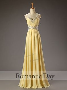 Best Selling Yellow Appliques Sequins sweetheart long Prom dress/formal dress/prom dresses 2015/party dress/Chiffon A-Line Long Dress 0072