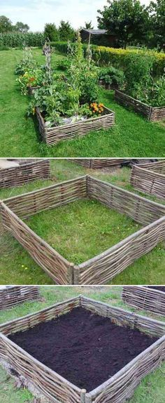 Another great rustic garden bed design. Must try to do this!