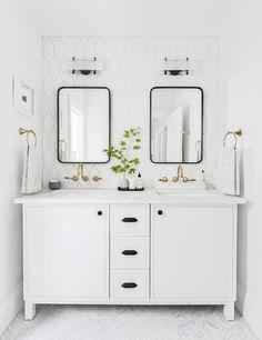 Portland Reveal: How I Designed a Modern Yet Traditional Guest Bathroom - Emily Henderson modern white bathroom ideas - Modern White Bathroom, White Vanity Bathroom, Small Bathroom, Master Bathroom, White Bathrooms, Bathroom Ideas White, Minimalist Bathroom, Dream Bathrooms, White Bathroom Cabinets