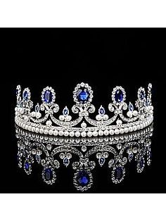Vintage Bridal Tiara with Pearls and Blue Rhinestones in Round Shape - USD $12.99
