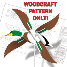 """Mallard Duck Whirligig DIY Woodcraft Pattern #1822 - Quick and easy to make with our full-size pattern, simple painting and assembly guide. 4""""H x 12""""W x 8""""D. Pattern by Sherwood Creations"""